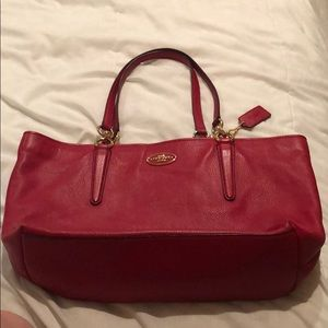 Coach Bag Red Ava Tote - Used